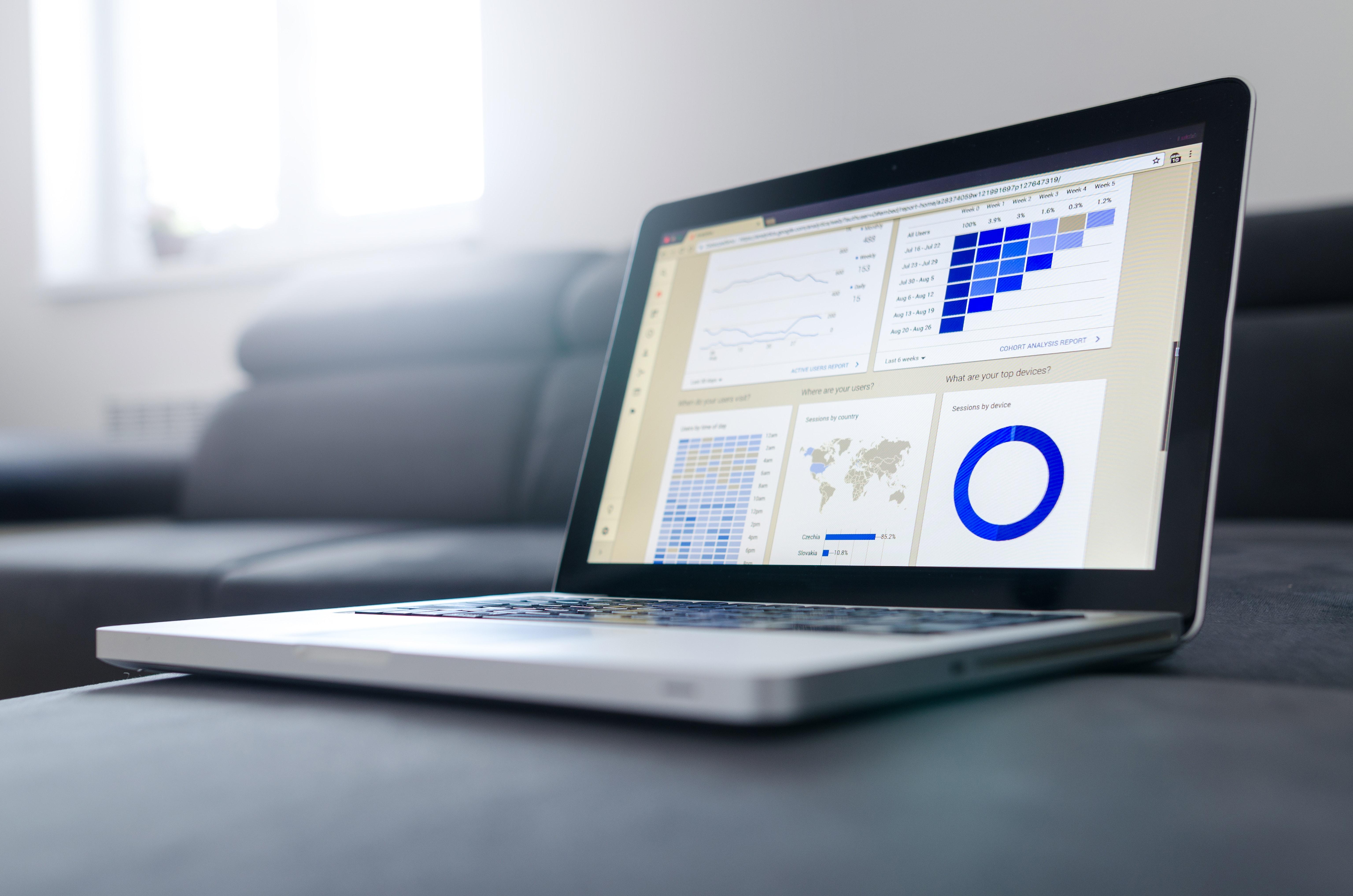 Tietokone jonka näytöllä näkyy analytiikkatyökalun näkymä